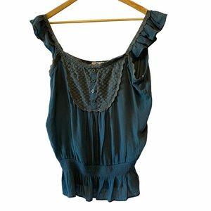 Boho Teal Light Linen Tank Top Crochet Detailing L